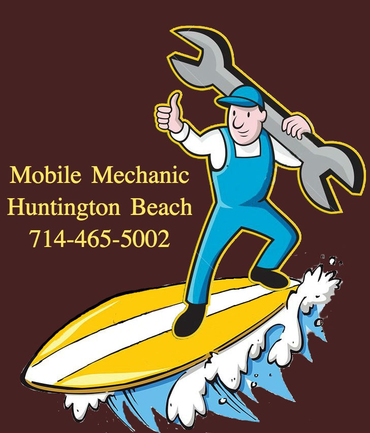 Logo for Mobile Mechanic Huntington Beach that has cartoon of an overalls-wearing mechanic holding a wrench and riding a yellow surfboard on a solid maroon background. Mobile Mechanic Huntington Beach 714-465-5002 in yellow letters is shown.