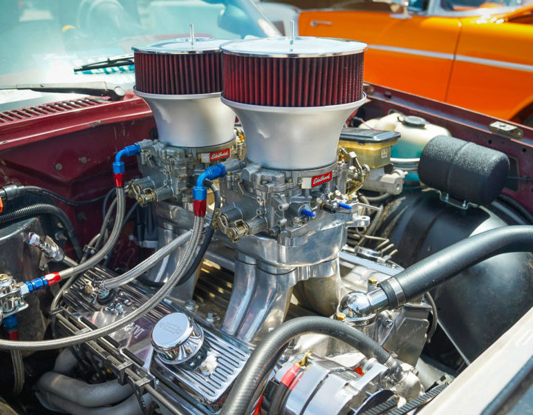 Photo of hot rod undergoing mobile auto fuel system repairs.